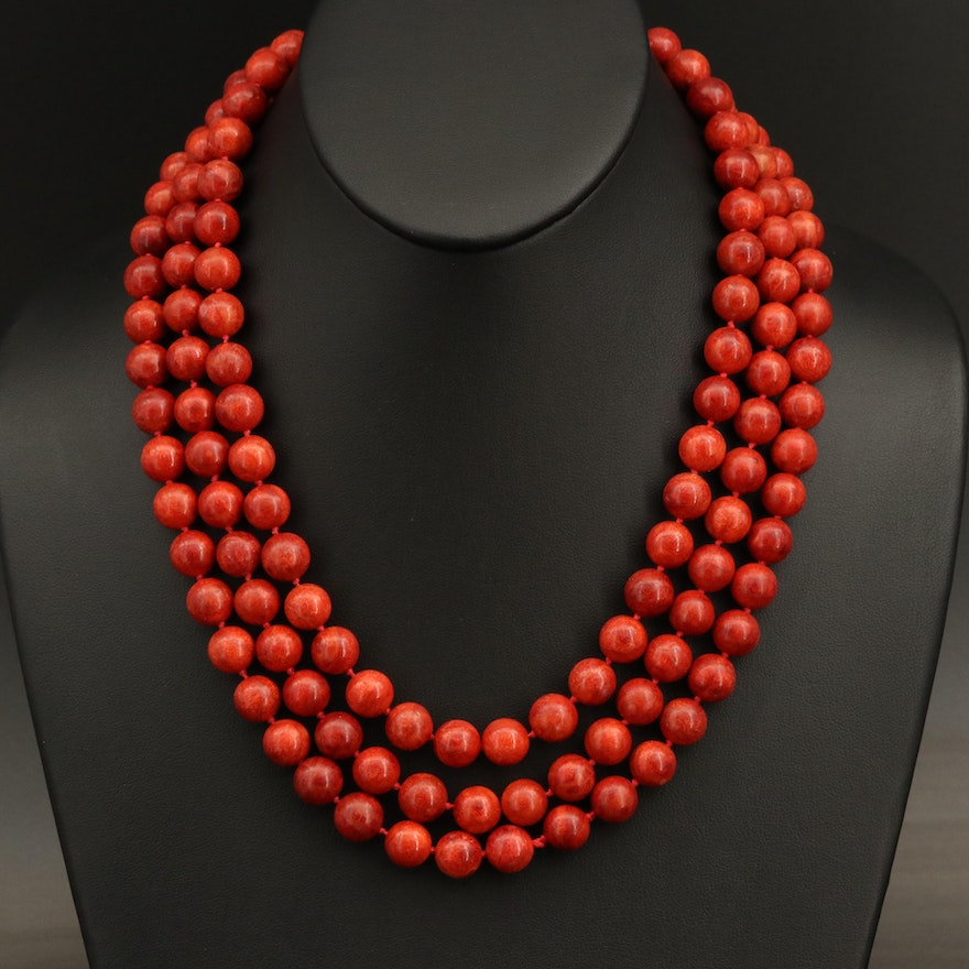 Sterling Coral Beaded Necklace