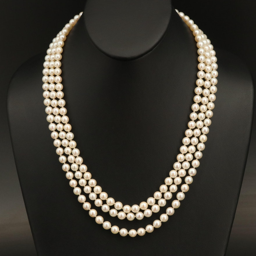 Triple-Strand Pearl Necklace with 14K Clasp
