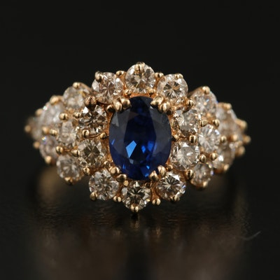 14K 1.25 CT Sapphire and  1.30 CTW Diamond Tiered Ring