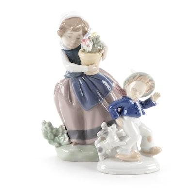 """Lladró """"Spring is Here"""" Porcelain Figurine with Lippelsdorf Porcelain Figurine"""