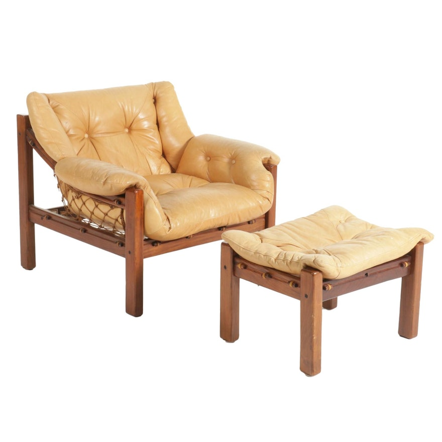Jean Gillon for Italma Wood Art Modernist Jacaranda Lounge Chair and Ottoman