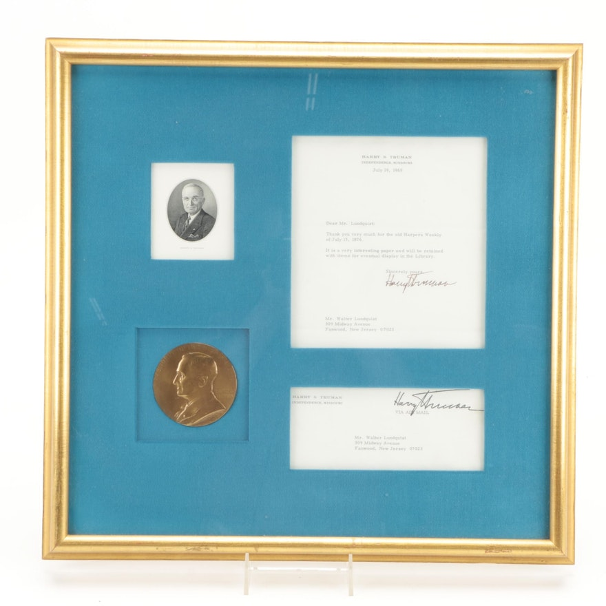 Harry Truman Typed Letter Signed Display, Visual COA
