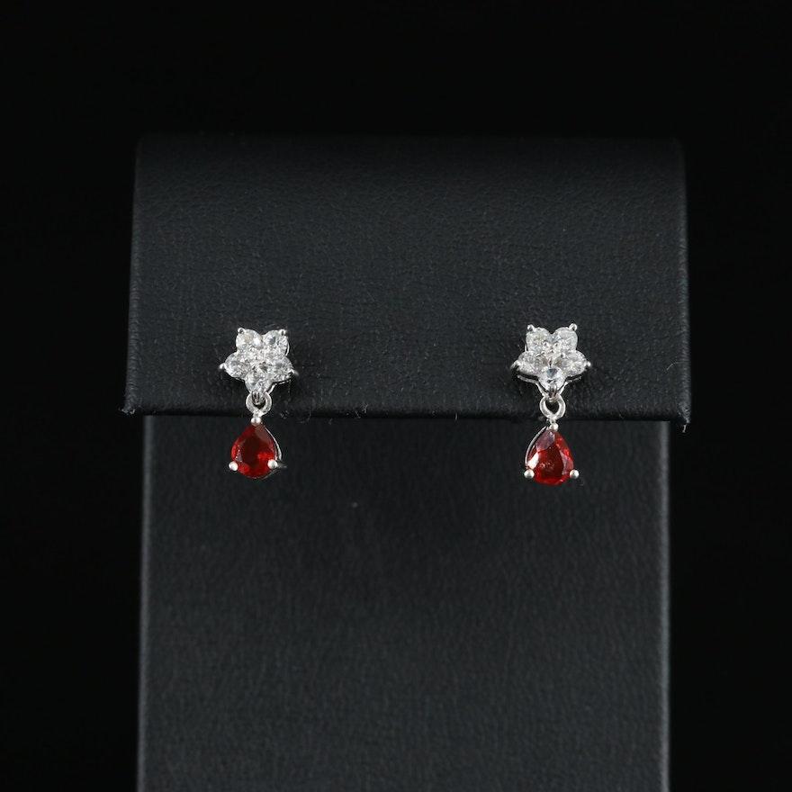 Sterling Fire Opal and White Zircon Flower and Teardrop Earrings