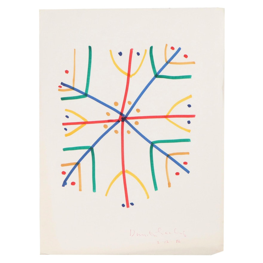 Dimitri Grachis Minimalist Abstract Marker Drawing, 1982