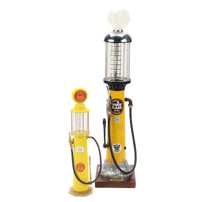 White Flash Gas Pump Decanter and Gearbox Shell Gasoline Pump Model Toy