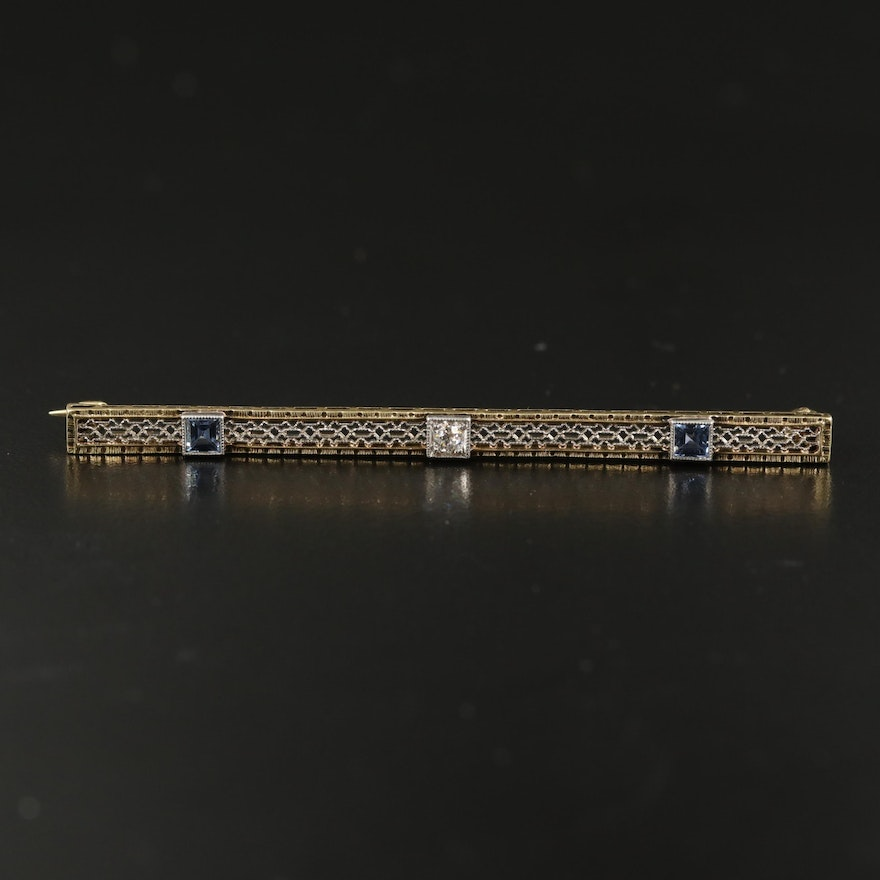 Art Deco 14K and Platinum Bar Brooch with Sapphires and Diamond