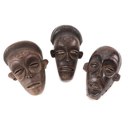 Chokwe Style Hand-Carved Miniature Masks, Central Africa