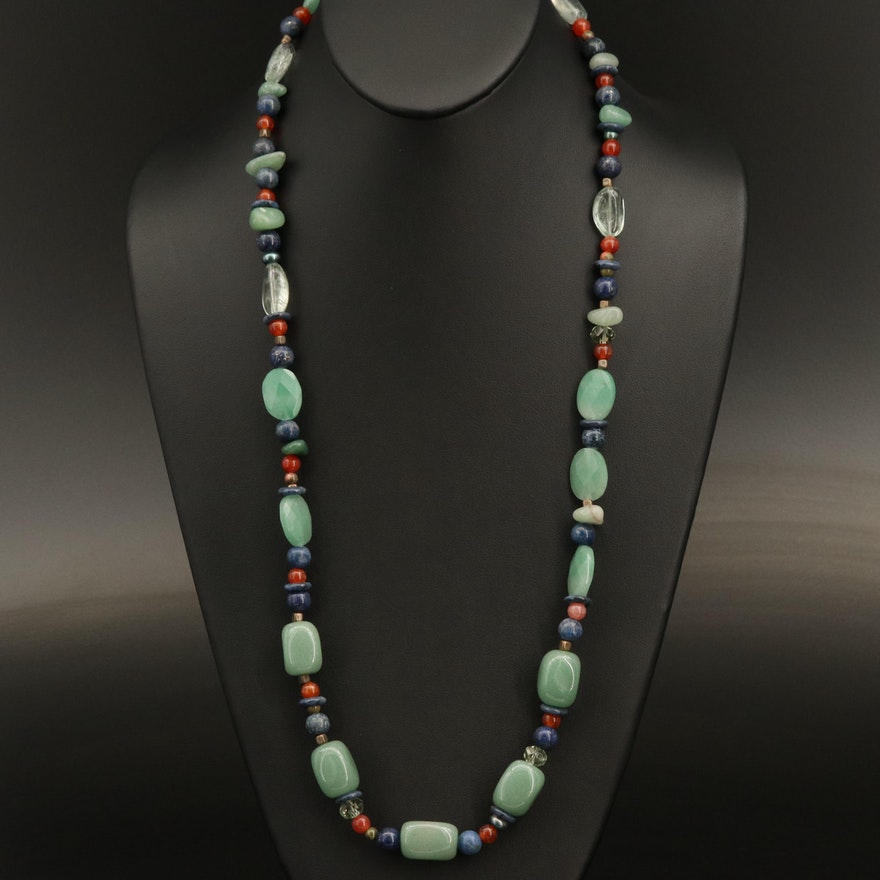 Gemstone Beaded Necklace with Lapis Lazuli, Pearl, Carnelian and Sterling Clasp