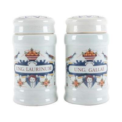 Udo Delft Earthenware Apothecary Jars, Mid to Late 20th Century
