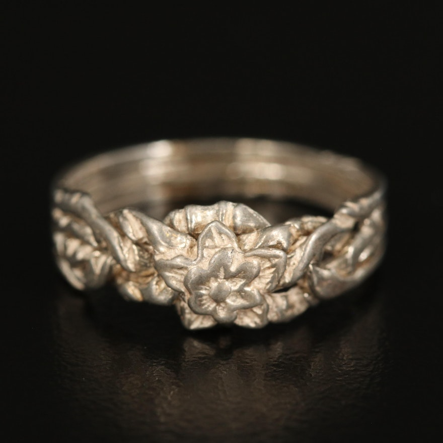 Sterling Flower Puzzle Ring