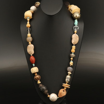 Beaded Necklace Featuring Carved Bone, Mother of Pearl and Agate