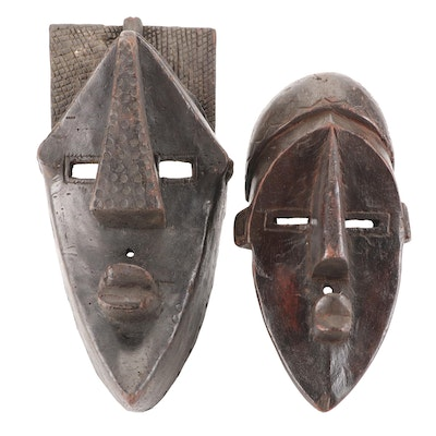 Lwalwa Style Hand-Carved Wood Masks, Central Africa
