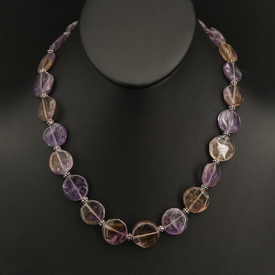 Sterling Silver Amethyst, Citrine and Ametrine Necklace