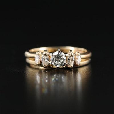 14K Diamond Five Stone Ring