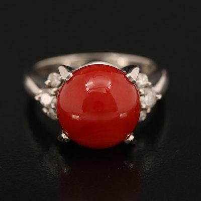 Platinum Coral and Diamond Ring