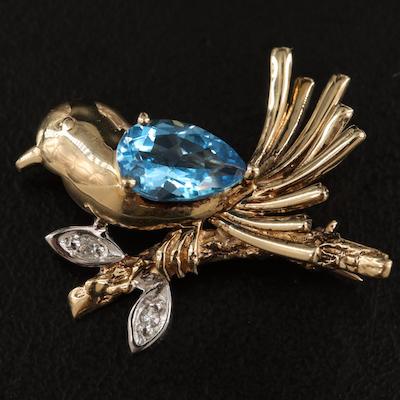 14K Swiss Blue Topaz and Diamond Bird Brooch