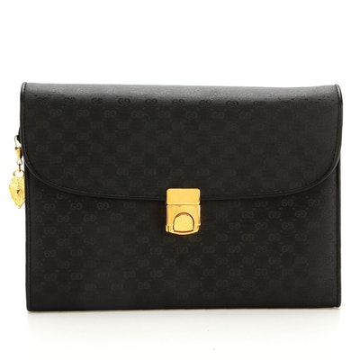 Gucci Convertible Clutch in Black Micro GG Nylon with Leather Trims