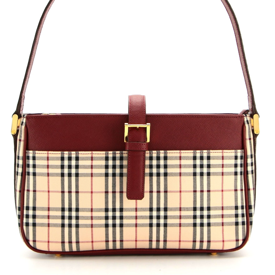 """Burberry Shoulder Bag in """"House Check"""" Canvas with Saffiano Leather Trim and Box"""