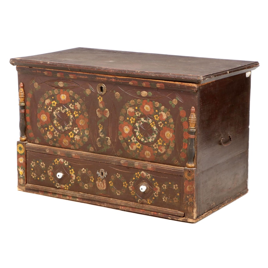 Northern European Paint-Decorated Pine Blanket Chest, Late 19th Century