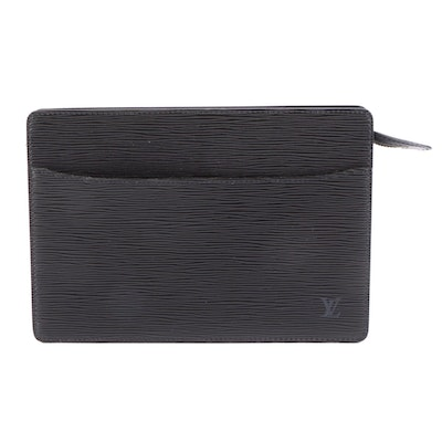 Louis Vuitton Pochette Homme Clutch in Black Epi and Smooth Leather