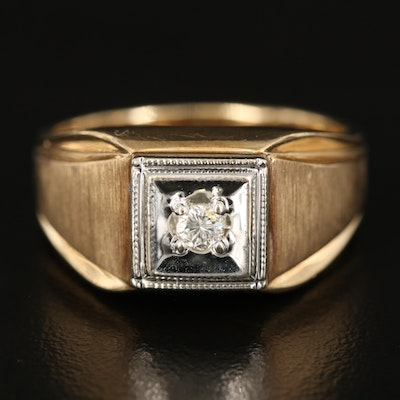 10K Two-Tone 0.10 CT Diamond Solitaire Ring with Brushed Detail Shoulders