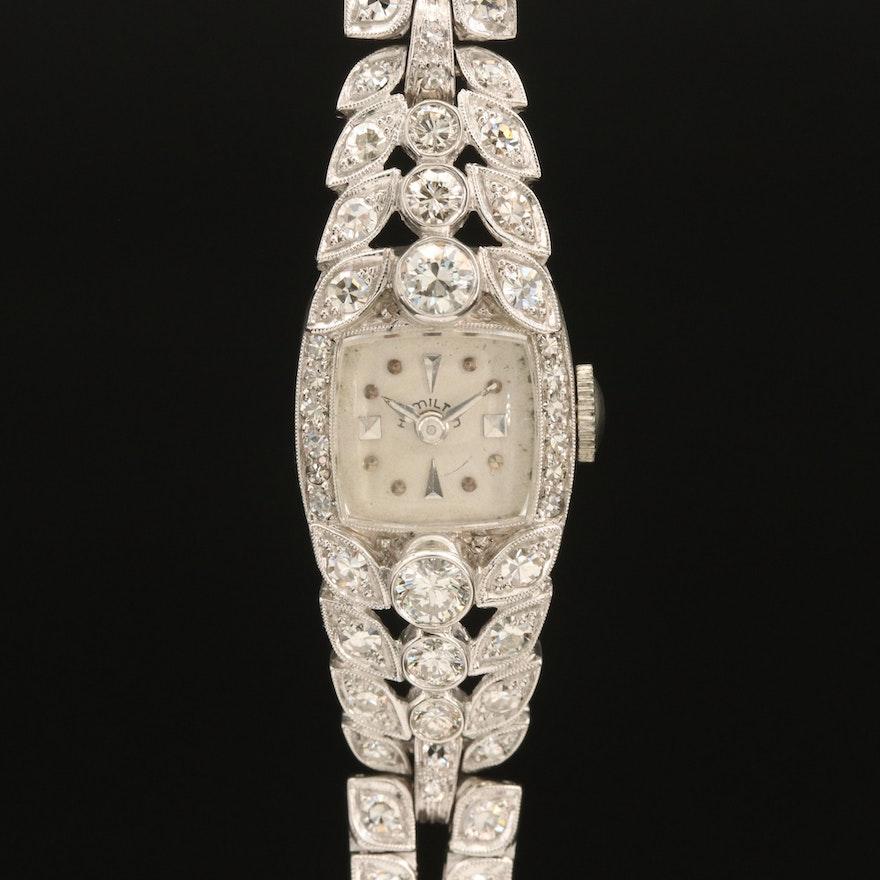 Platinum and 2.75 Diamond Hamilton Wristwatch