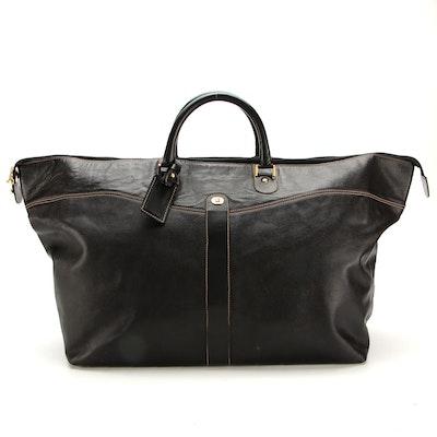 Dunhill Black Contrast-Stitched Leather Weekender Bag