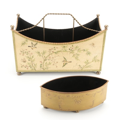 Chelsea House Chinoiserie Style Metal Magazine Rack with Tole Painted Planter
