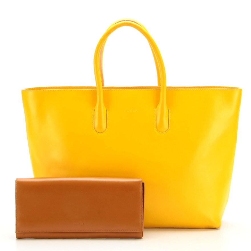 Furla Zippered Tote Bag in Yellow Leather and Accordion Clutch in Brown Leather