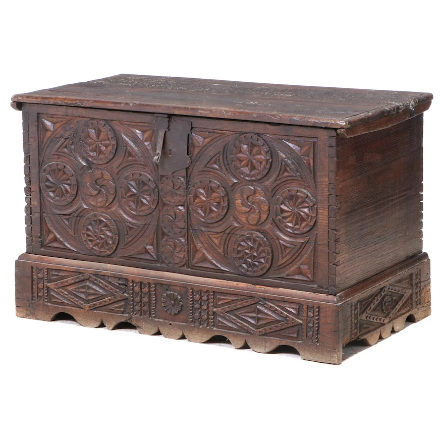 Charles II Carved Oak Coffer, 17th Century and Adapted