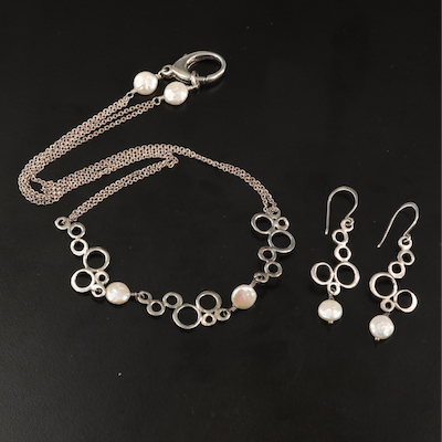 Sterling Silver Pearl Stationary Pendant Necklace with Matching Drop Earrings