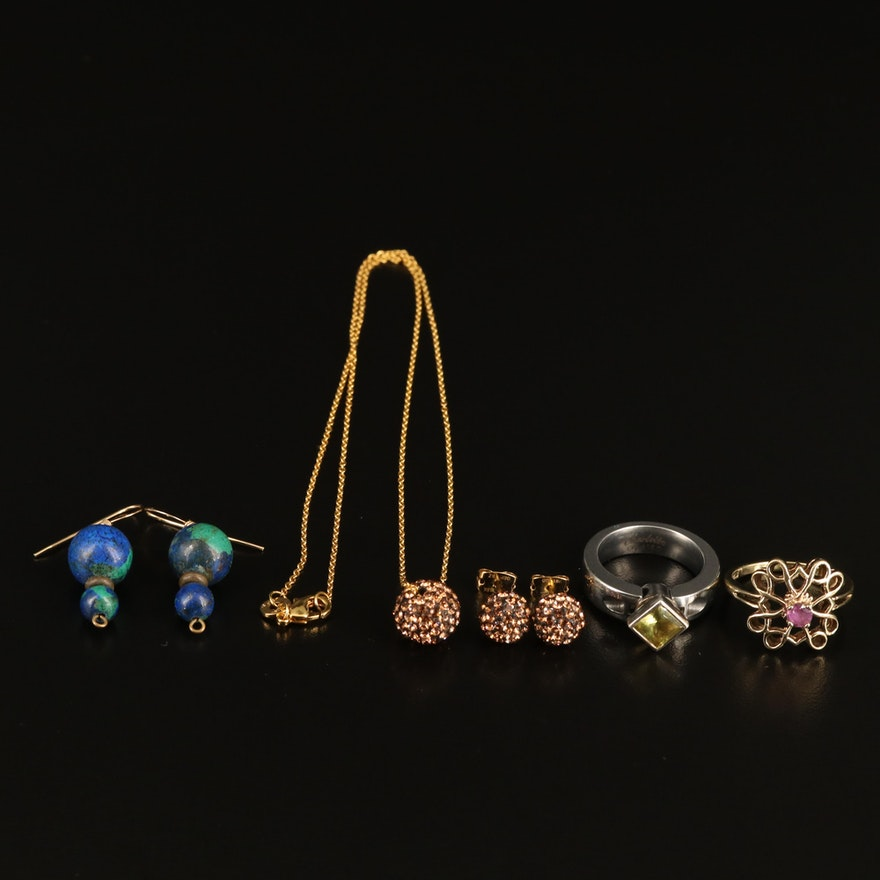 Rings, Necklace and Earrings Including Sterling, Citrine, Azurmalachite and Ruby