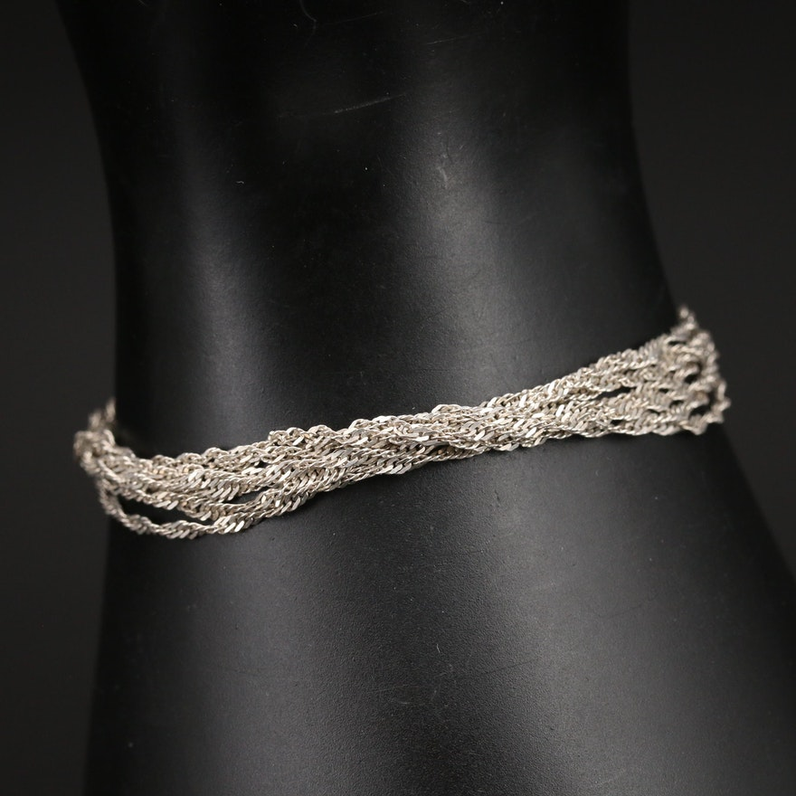 Sterling Multi-Strand Singapore Chain Bracelet