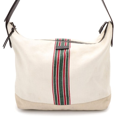 Gucci Large Bag in Web Stripe Canvas with Single Leather Strap