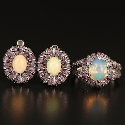 Sterling Opal, Pink Sapphire and Ruby Ring and Earrings