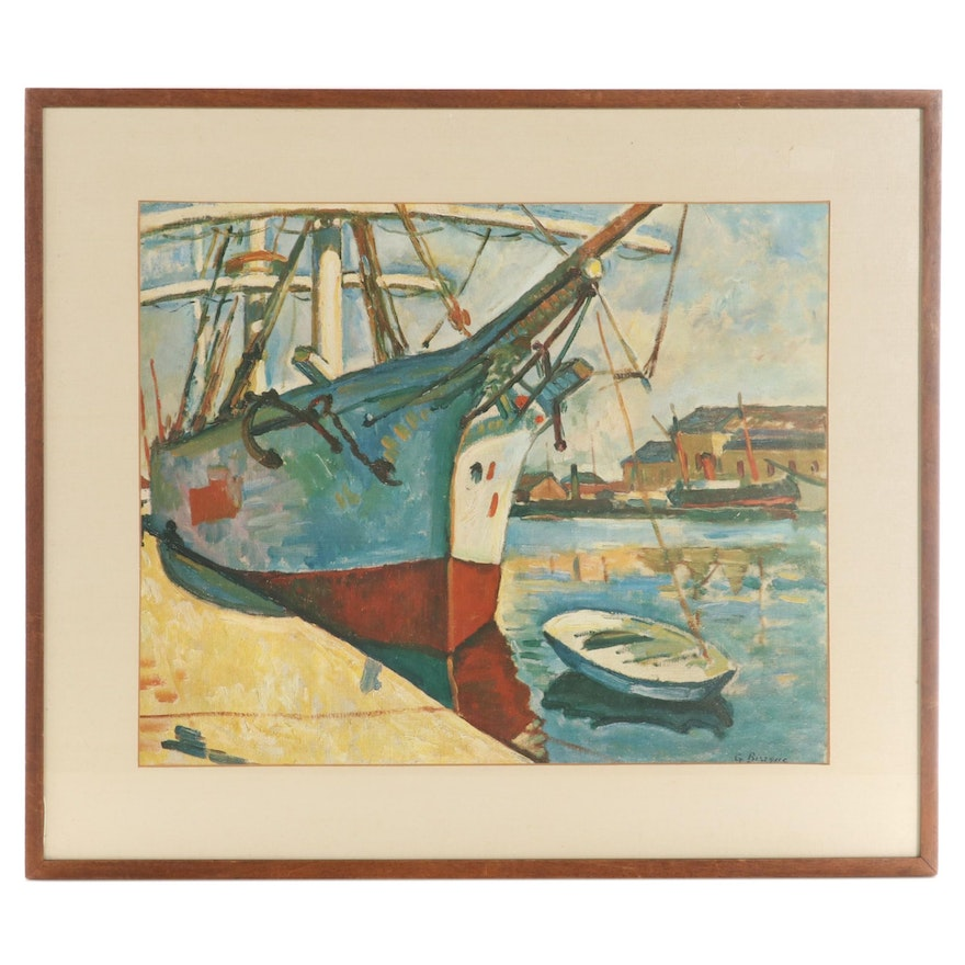 """Offset Lithograph After George Braque """"Ship at Le Havre"""""""