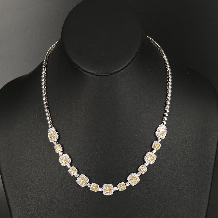 18K 7.89 CTW Diamond Double Halo Necklace