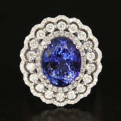 14K 8.03 CT Tanzanite and 1.75 CTW Diamond Ring
