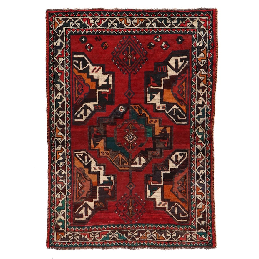 4'4 x 6'2 Hand-Knotted Afghan Baluch Area Rug