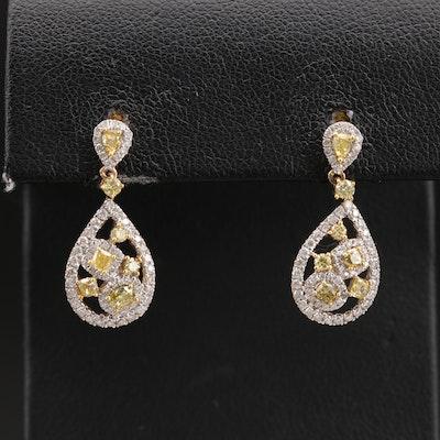 Kallati 9K 1.44 CTW Diamond Teardrop Earrings