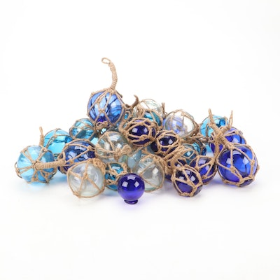 Clear and Blue Blown Glass Fishing Net Floats