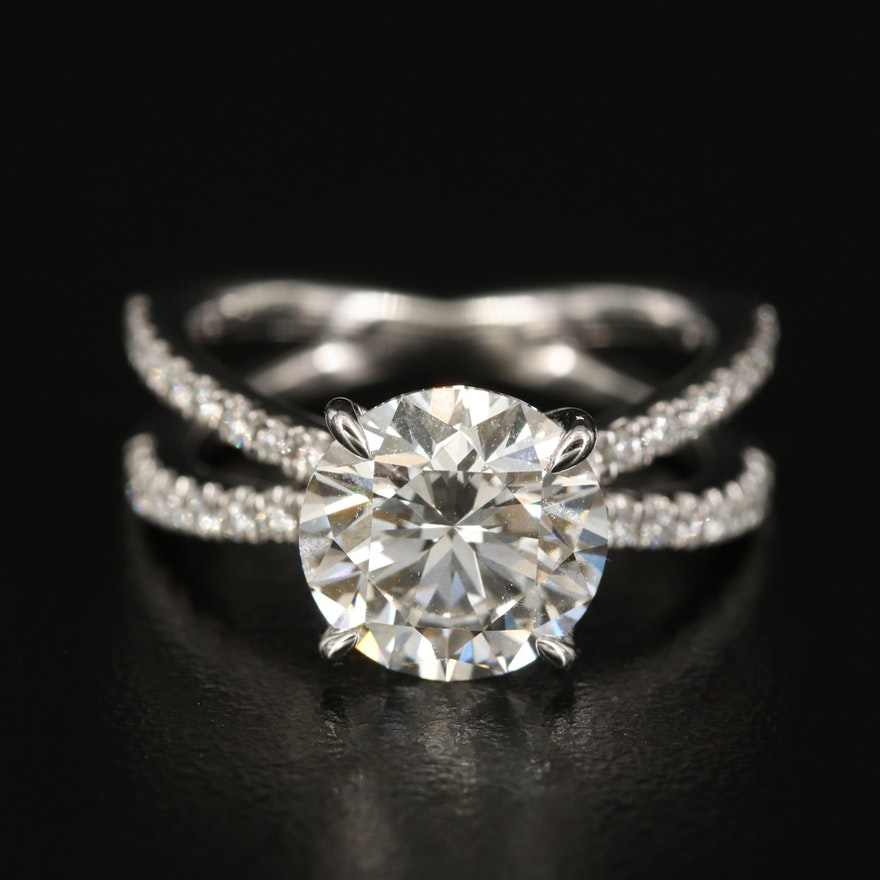 18K 3.86 CTW Diamond Ring with Split Shoulders
