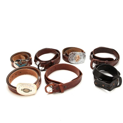 Sterling Silver Commemorative Ford Buckle on Tooled Leather Strap and More Belts