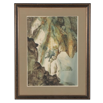 Jason Williamson Watercolor Painting of Goat, Late 20th Century