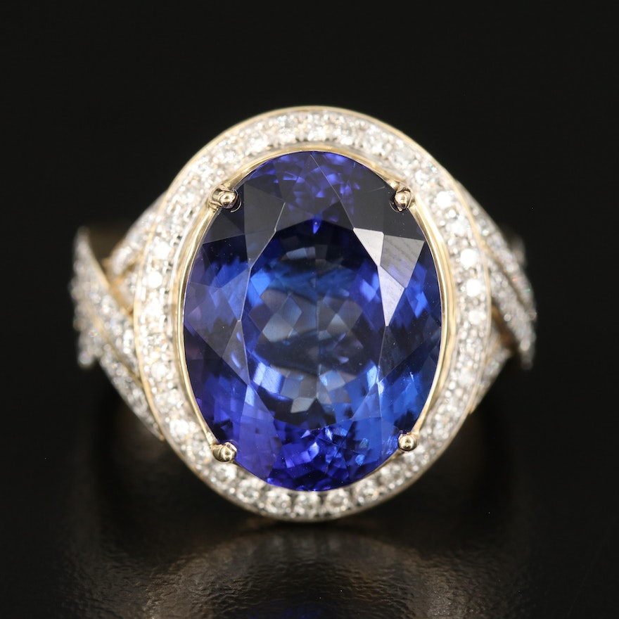 14K 11.64 CT Tanzanite and Diamond Halo Ring with Crossover Shoulders