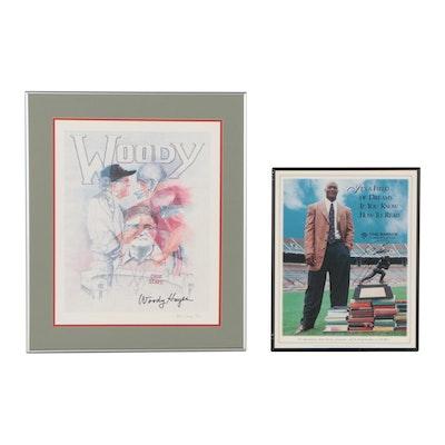 Eddie George Signed Literacy Program Poster and Woody Hayes Commemorative Print