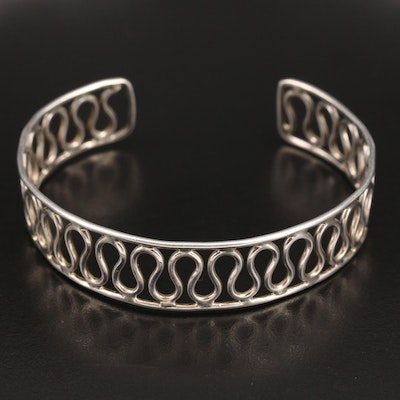 Sterling Cuff with Scrolling Wire Design