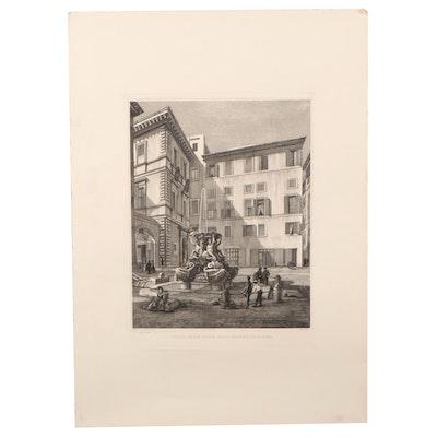 """Luigi Rossini Engraving """"Veduta della Piazza delle Tartaruche in Roma"""""""