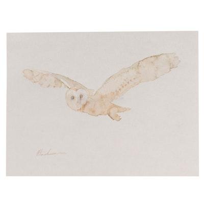 "Artyom Abrahamyan Watercolor Painting ""White Owl,"" 21st Century"