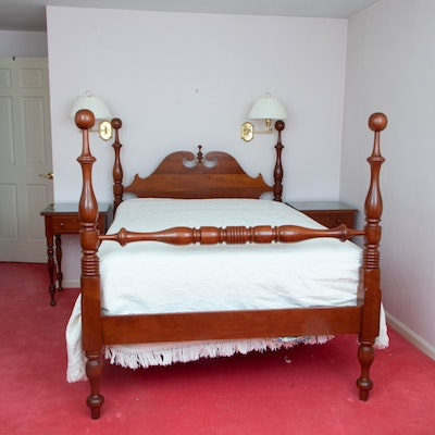 Federal Style Cherry Cannonball Full Size Bed Frame with Two Nightstands